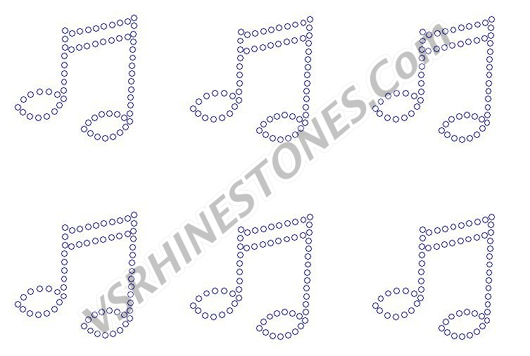 Double Music Note - Set of 3 Rhinestone Transfer