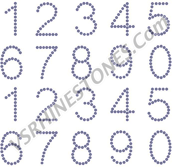 Numbers - 2 inch Arial Rhinestone Transfer