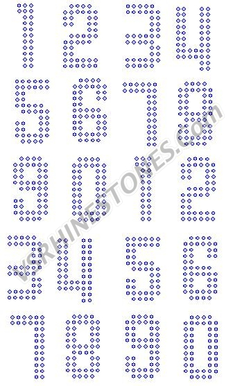 Numbers 2 Inch BLOCK Rhinestone Transfer