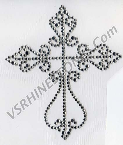 Ornate Crystal Cross Rhinestone Transfer