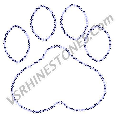 Paw Print Outline - 8 inch Rhinestone Transfer [S050157