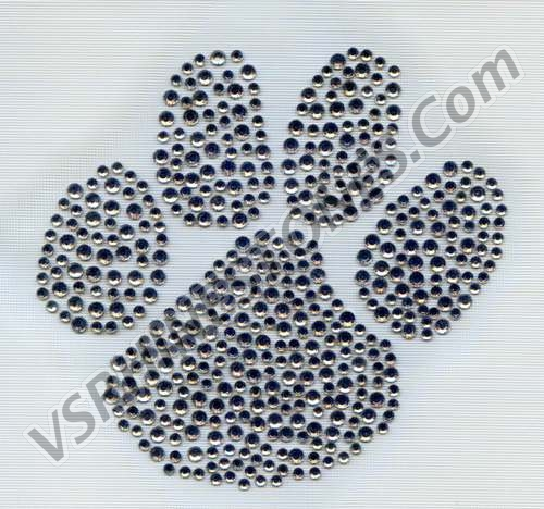 Paw Print Filled - Large Rhinestone Transfer