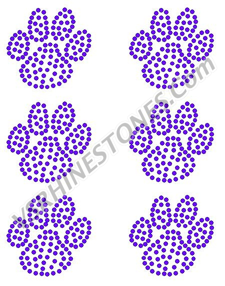 Paw Mini Filled Rhinestone Transfers (6)