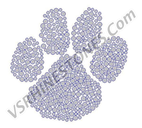 Paw Print Filled - Small Rhinestone Transfer