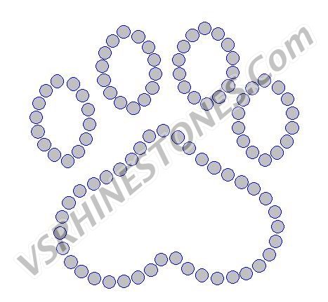 Paw Print Outline - 2 inch - Set of 2 Rhinestone Transfer