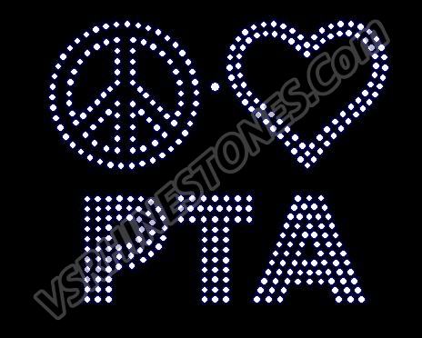 Peace Love PTA Rhinestone Transfer