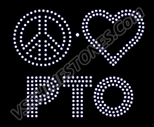 Peace Love PTO Rhinestone Transfer