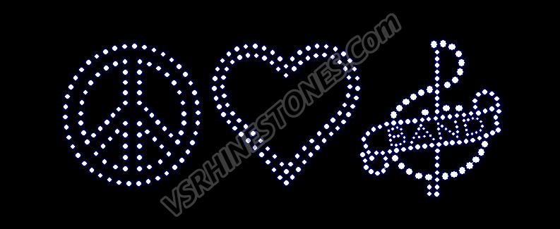 Band - Peace Love Band Note Rhinestone Transfer