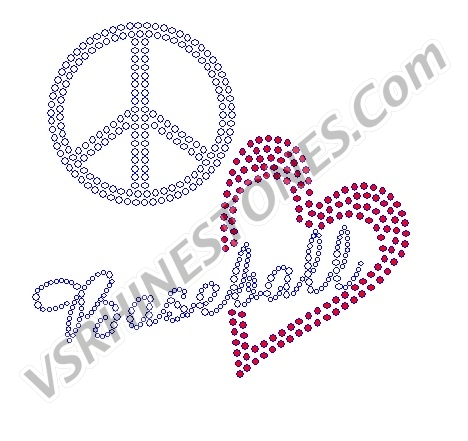 Peace Love Baseball - Red Heart Rhinestone Transfer