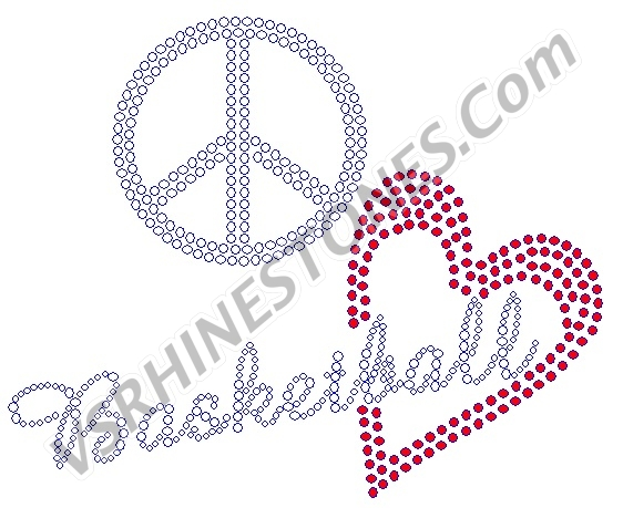 Peace Love Basketball - Red Heart Rhinestone Transfer