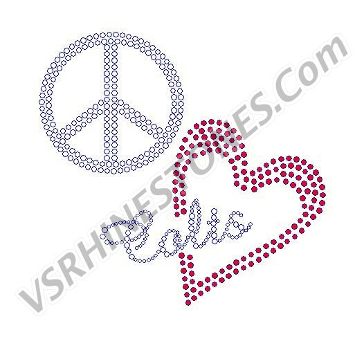 Peace Love Colts Red Heart Rhinestone Transfer
