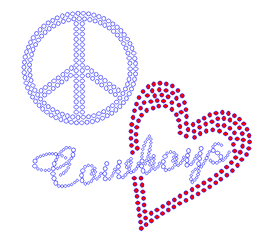 Peace Love Cowboys Red Heart Rhinestone Transfer