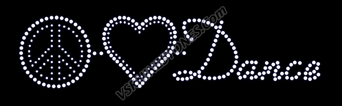 Peace Love Dance Rhinestone Transfer (word)