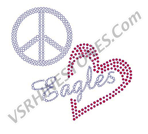 Peace Love Eagles Red Heart Rhinestone Transfer