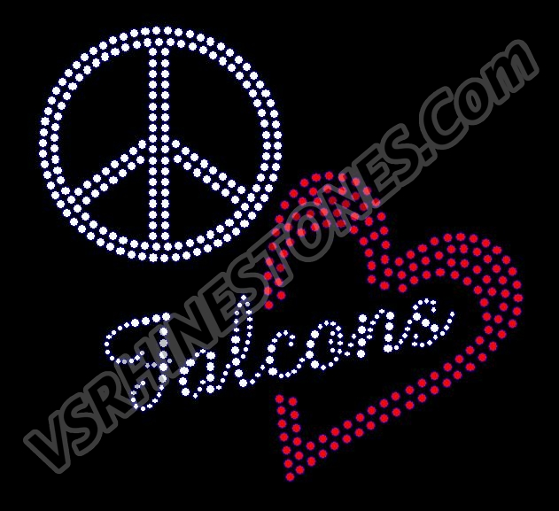 Peace Love Falcons Red Heart Rhinestone Transfer