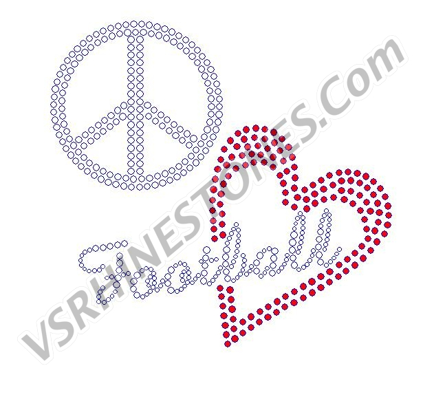 Peace Love Football Red Heart Rhinestone Transfer
