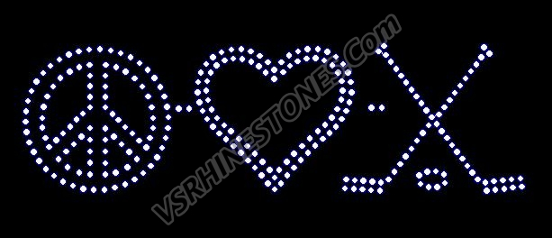 Peace Love Hockey Rhinestone Transfer