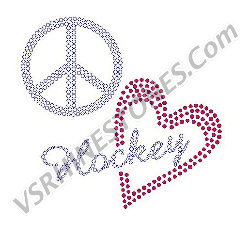 Peace Love Hockey - Red Heart Rhinestone Transfer