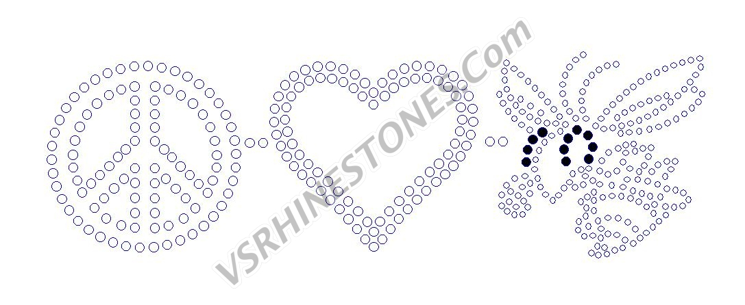 Peace Love Hornet Rhinestone Transfer