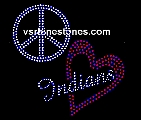 Peace Love Indians Red Heart Rhinestone Transfer