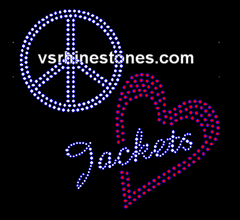 Peace Love Jackets Red Heart Rhinestone Transfer