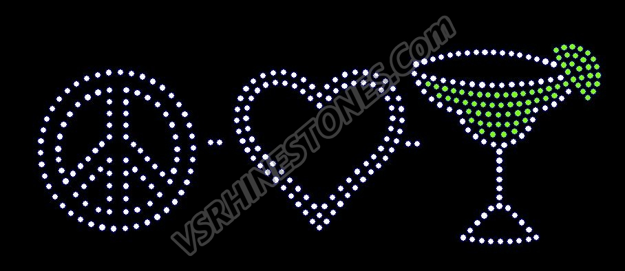 Peace Love Margarita Rhinestone Transfer