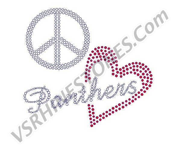 Peace Love Panthers Red Heart Rhinestone Transfer
