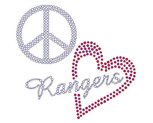 Peace Love Rangers Red Heart Rhinestone Transfer