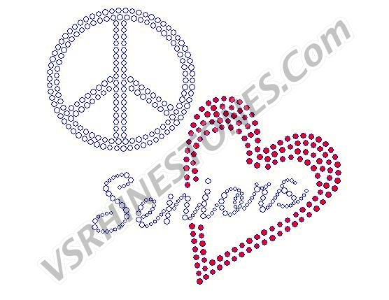 Peace Love Seniors Rhinestone Transfer - Red Heart