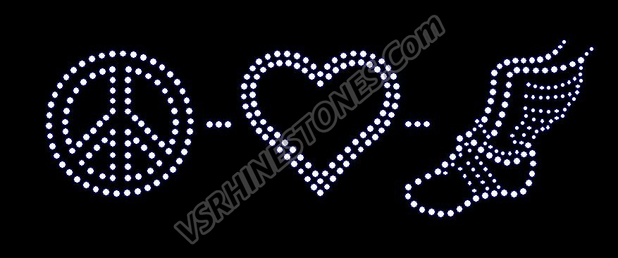 Peace Love Track Rhinestone Transfer