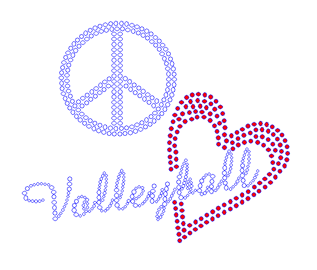 Peace Love Volleyball - Red Heart Rhinestone Transfer