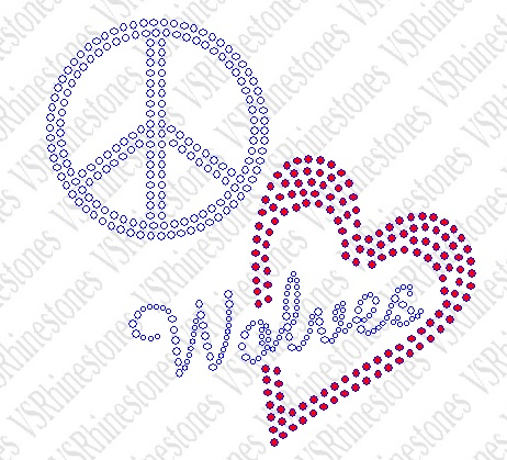Peace Love Wolves Red Heart Rhinestone Transfer