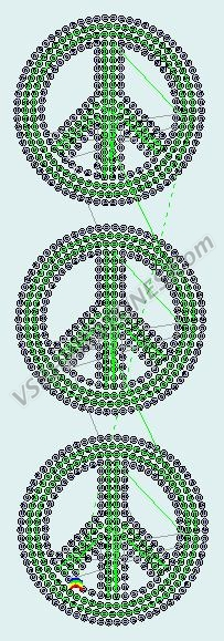 Peace Sign - Sequin transfer 3 pack - Lime