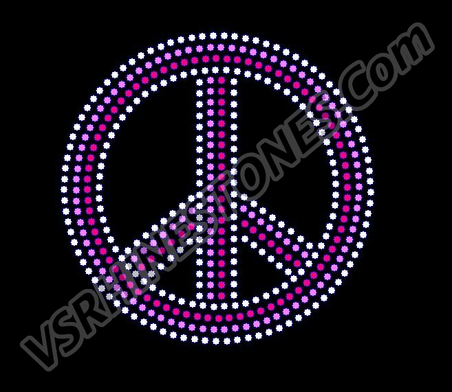 Peace - Medium Pink Rhinestone Transfer