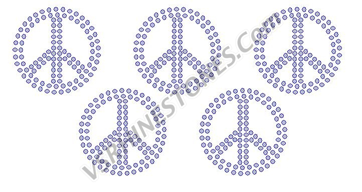 Peace Sign - Extra Small (5) Rhinestone Transfer