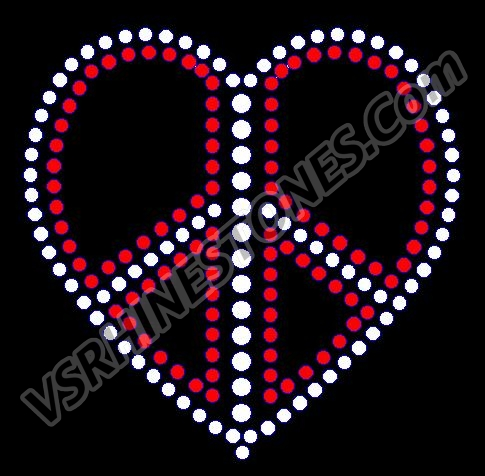Rhinestone Red and Clear Peace Heart Rhinestone Transfer