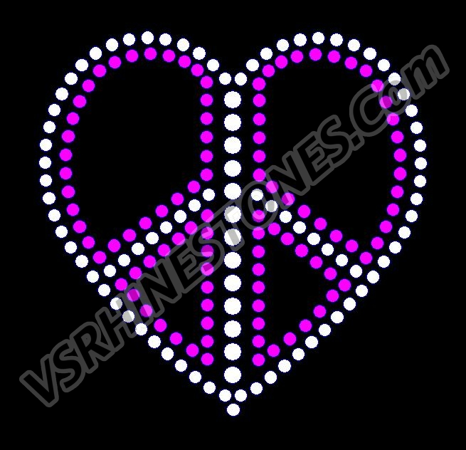 Peace Heart Rhinestone Transfer - Hot Pink & Clear