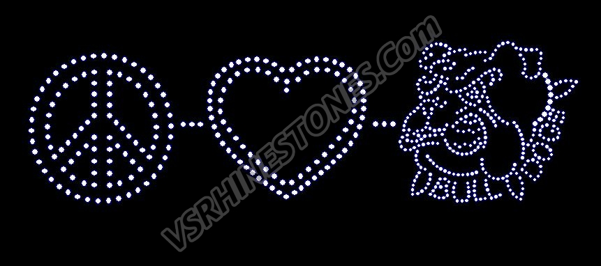 Peace Love Bulldogs Rhinestone Transfer