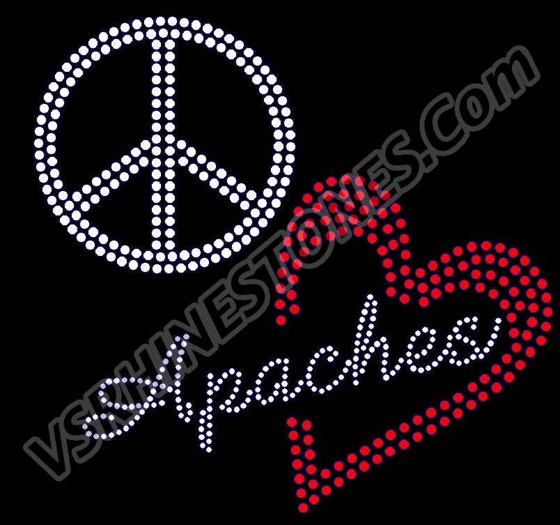 Peace Love Apaches red heart Rhinestone Transfer