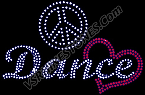Peace Love Dance Script Rhinestone Transfer (red heart)