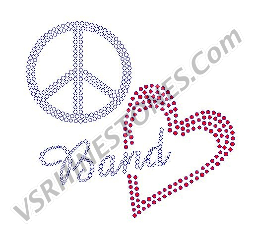 Peace Love Band Rhinestone Transfer - Red Heart