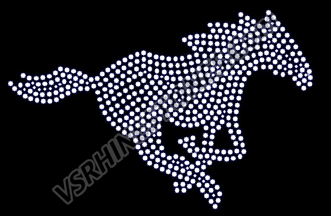 Running Mustang Filled Rhinestone Transfer