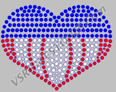 Patriotic Heart Rhinestone Transfer