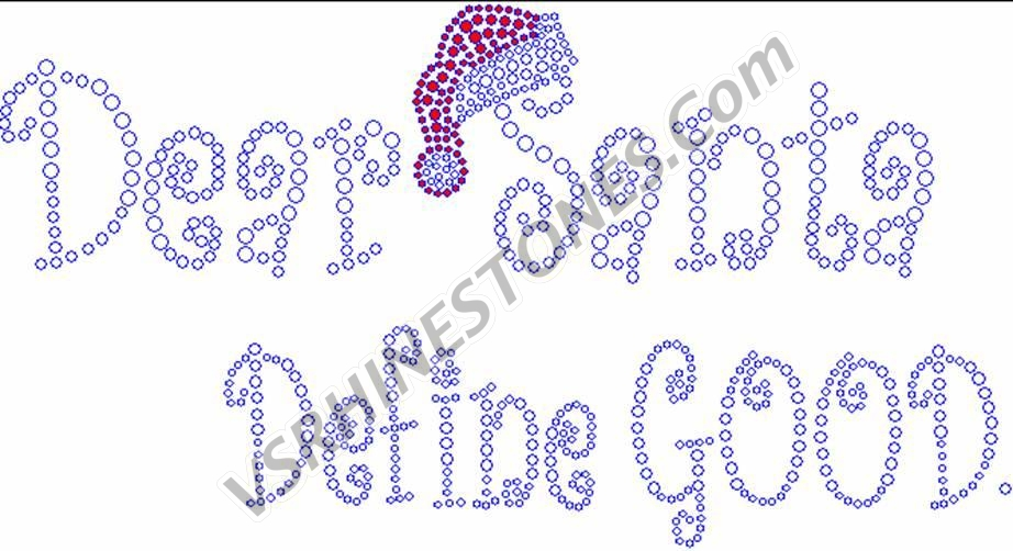 Dear Santa Define Good Large Rhinestone Transfer