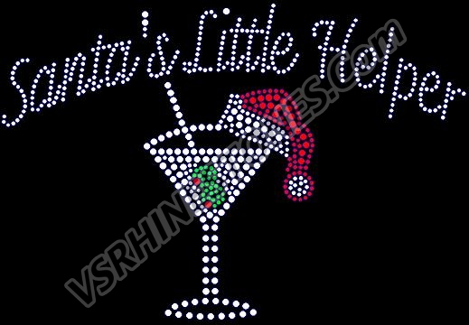 Santas Little Helper Rhinestone Transfer
