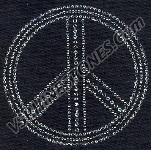 Peace Sign - Large CLEARANCE Rhinestone Transfer