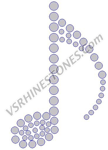 Single Music Note - Set of 3 Rhinestone Transfer