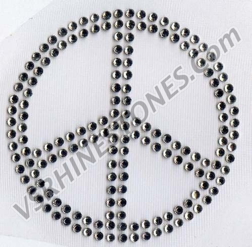 Peace Sign - Small (set of 2) Rhinestone Transfer