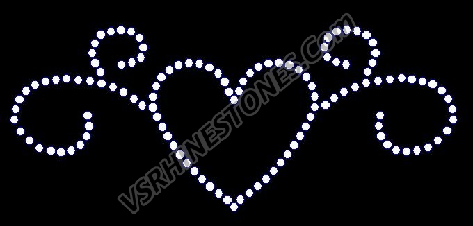 Swirl Heart - Small - Set of 3 Rhinestone Transfer