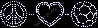Peace Love Soccer Rhinestone Transfer